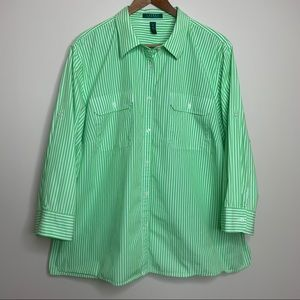 Lauren Ralph Lauren Green Stripe Button Down Top